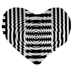 Black And White Abstract Stripped Geometric Background Large 19  Premium Heart Shape Cushions by Nexatart