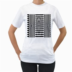 Black And White Abstract Stripped Geometric Background Women s T Shirt (white)