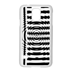 Black And White Abstract Stripped Geometric Background Samsung Galaxy S5 Case (white) by Nexatart