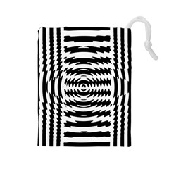 Black And White Abstract Stripped Geometric Background Drawstring Pouches (large)