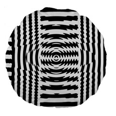 Black And White Abstract Stripped Geometric Background Large 18  Premium Flano Round Cushions
