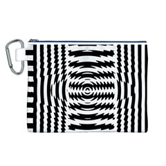 Black And White Abstract Stripped Geometric Background Canvas Cosmetic Bag (l) by Nexatart