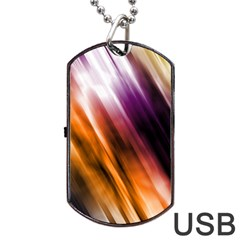 Colourful Grunge Stripe Background Dog Tag Usb Flash (two Sides)