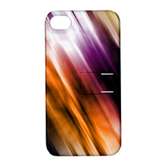 Colourful Grunge Stripe Background Apple Iphone 4/4s Hardshell Case With Stand