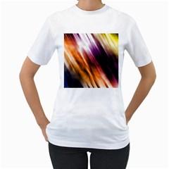 Colourful Grunge Stripe Background Women s T Shirt (white)