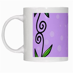 Hand Drawn Doodle Flower Border White Mugs by Nexatart