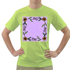 Hand Drawn Doodle Flower Border Green T Shirt