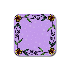 Hand Drawn Doodle Flower Border Rubber Square Coaster (4 Pack)  by Nexatart