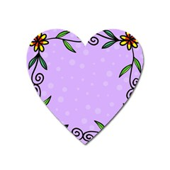 Hand Drawn Doodle Flower Border Heart Magnet by Nexatart