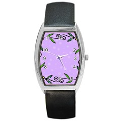 Hand Drawn Doodle Flower Border Barrel Style Metal Watch