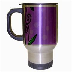 Hand Drawn Doodle Flower Border Travel Mug (silver Gray)