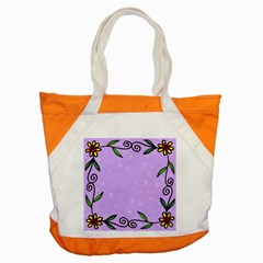 Hand Drawn Doodle Flower Border Accent Tote Bag