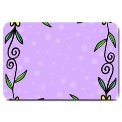 Hand Drawn Doodle Flower Border Large Doormat  by Nexatart