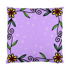 Hand Drawn Doodle Flower Border Standard Cushion Case (one Side) by Nexatart