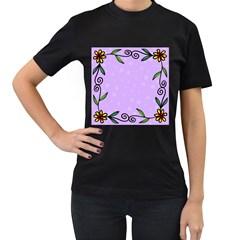 Hand Drawn Doodle Flower Border Women s T Shirt (black)