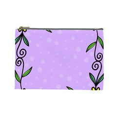 Hand Drawn Doodle Flower Border Cosmetic Bag (large)  by Nexatart