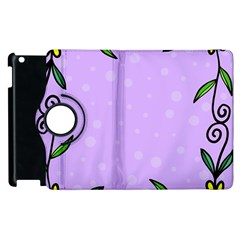 Hand Drawn Doodle Flower Border Apple Ipad 2 Flip 360 Case by Nexatart