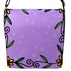 Hand Drawn Doodle Flower Border Flap Messenger Bag (s)