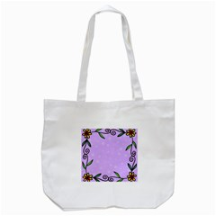 Hand Drawn Doodle Flower Border Tote Bag (white) by Nexatart