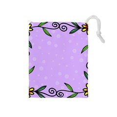 Hand Drawn Doodle Flower Border Drawstring Pouches (medium)