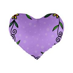 Hand Drawn Doodle Flower Border Standard 16  Premium Flano Heart Shape Cushions by Nexatart