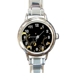 Golden Flowers And Leaves On A Black Background Round Italian Charm Watch