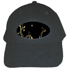 Golden Flowers And Leaves On A Black Background Black Cap by Nexatart