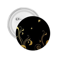 Golden Flowers And Leaves On A Black Background 2 25  Buttons