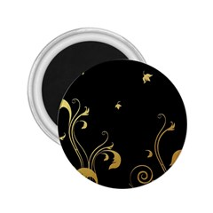 Golden Flowers And Leaves On A Black Background 2 25  Magnets by Nexatart