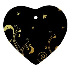 Golden Flowers And Leaves On A Black Background Ornament (heart)