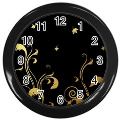Golden Flowers And Leaves On A Black Background Wall Clocks (black)