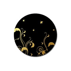 Golden Flowers And Leaves On A Black Background Magnet 3  (round)