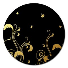 Golden Flowers And Leaves On A Black Background Magnet 5  (round) by Nexatart