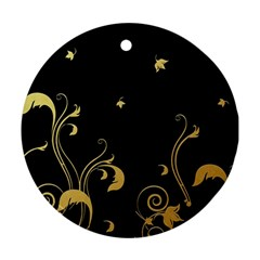 Golden Flowers And Leaves On A Black Background Round Ornament (two Sides)