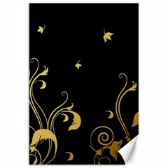 Golden Flowers And Leaves On A Black Background Canvas 20  X 30   by Nexatart