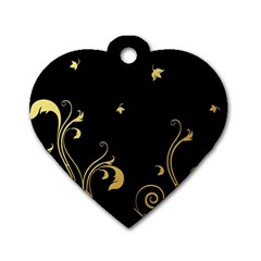 Golden Flowers And Leaves On A Black Background Dog Tag Heart (one Side)