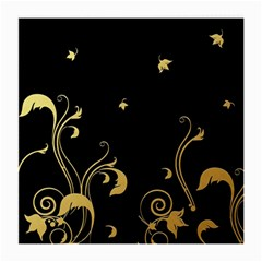 Golden Flowers And Leaves On A Black Background Medium Glasses Cloth (2 Side) by Nexatart