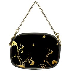 Golden Flowers And Leaves On A Black Background Chain Purses (one Side)  by Nexatart
