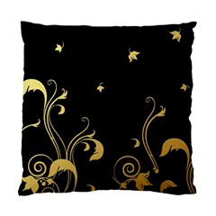 Golden Flowers And Leaves On A Black Background Standard Cushion Case (two Sides) by Nexatart