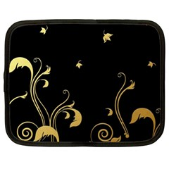 Golden Flowers And Leaves On A Black Background Netbook Case (xl)  by Nexatart