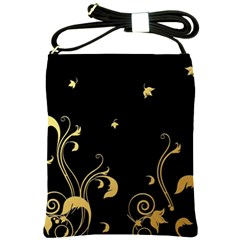 Golden Flowers And Leaves On A Black Background Shoulder Sling Bags by Nexatart