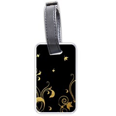 Golden Flowers And Leaves On A Black Background Luggage Tags (one Side)  by Nexatart