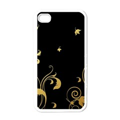 Golden Flowers And Leaves On A Black Background Apple Iphone 4 Case (white)