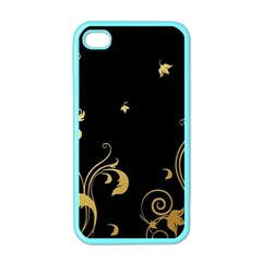 Golden Flowers And Leaves On A Black Background Apple Iphone 4 Case (color)