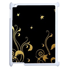Golden Flowers And Leaves On A Black Background Apple Ipad 2 Case (white) by Nexatart