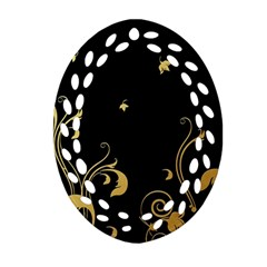 Golden Flowers And Leaves On A Black Background Ornament (oval Filigree)