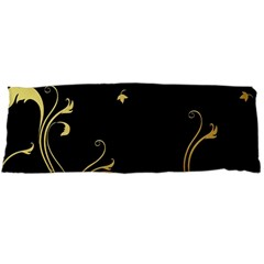 Golden Flowers And Leaves On A Black Background Body Pillow Case (Dakimakura)