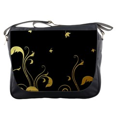 Golden Flowers And Leaves On A Black Background Messenger Bags