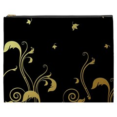 Golden Flowers And Leaves On A Black Background Cosmetic Bag (xxxl)  by Nexatart