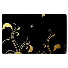 Golden Flowers And Leaves On A Black Background Apple Ipad 2 Flip Case by Nexatart